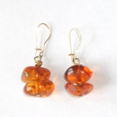 SOLD $38.00 Antique Victorian 14K Gold Baltic Natural Butterscotch Amber Earrings- 4 Grams by feathersoup on Etsy