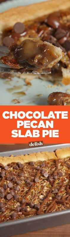 Chocolate pecan slab pie is the best way to serve dessert to a large Thanksgiving crowd. Get the recipe on Delish.com.
