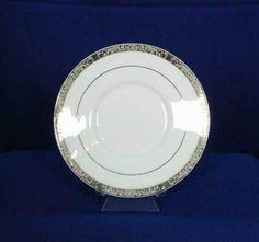 Sango Empress Platinum 8454 Pattern Saucer White #Sango
