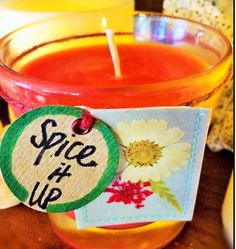 Soy Candle -- SPICE IT UP -- in Cinnamon Red--100% Soy Wax in 4 oz.Fluted Glass Votive Candle with Decorative Kraft Paper Flower Tag w/ Jute by TextileandType on Etsy