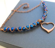 Blue Haematite and Copper Wire Necklace with Valentines Heart £11.95