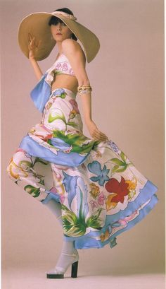 1973 - Karl Lagerfeld 4 Chloé by David Montgomery 70s color photo print ad fashion floral top skirt dress