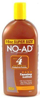 No-Ad SPF# 4 Dark Tan Lotion 16 oz. (Case of 6) by No-Ad. $37.79. Quick Absorption. 100% More than Standard 8 oz Sunscreens. With Carrot Extract Aloe Vera & Vitamin E. This non-greasy lightweight lotion is specially enriched with carrot extract to help promote a deep dark tan.  Natural skin conditioners help keep skin soft and hydrated.  NO-AD for a beautiful tan.