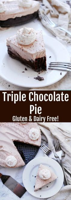 Gluten & Dairy-free Triple Chocolate Pie has a crunchy, chocolate cookie crust, thick chocolate pudding & a light chocolate mousse. It's an easy no-bake pie Gluten Free Pie, Gluten Free Cakes, Sans Gluten, Gluten Free Desserts, Healthy Desserts, Dairy Free Chocolate, Chocolate Pies, Vegan Chocolate, Chocolate Recipes