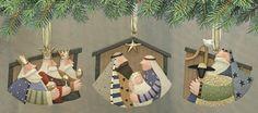 Folk Art Nativity Ornaments Set of Three – Christmas Folk Art & Holiday Collectibles – Williraye Studio $15.00