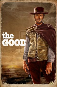 "Clint Eastwood is The man with no name,  in Sergio Leone's ""The Good, the Bad & the Ugly"" #Eastwood #Movie #Illustration"