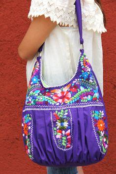 GlobeIn: Purple  Multi colored hand  Embroidered Huipil Boho Travel tote #globein
