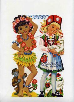 Vintage Stamps, Vintage Paper, Vintage Postcards, Vintage Toys, Paper Doll Craft, Doll Crafts, Paper Dolls, Vintage Baby Pictures, Christmas Decals