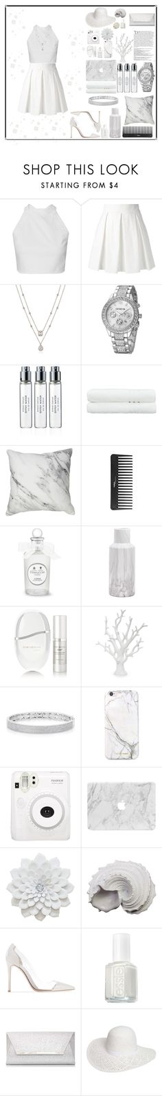 """A White Lie"" by amber-mistry ❤ liked on Polyvore featuring Boutique Moschino, Byredo, Linum Home Textiles, Sephora Collection, Clarisonic, Anne Sisteron, russell+hazel, Balmain, Fuji and Urban Trends Collection"
