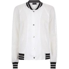 Antipodium White Mesh Bomber Jacket ($297) ❤ liked on Polyvore featuring outerwear, jackets, coats & jackets, white, bomber style jacket, antipodium, mesh jacket, urban jackets and white jacket