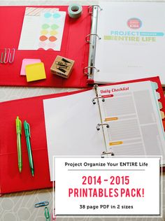 An 83 page PDF file with everything you need to keep yourself organized this year - meal planning sheets, cleaning schedules, daily/weekly/monthly calendars and lots more. I LOVE this system!