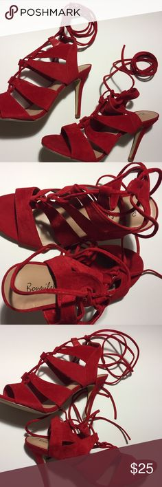 Never Worn Red Lace Up Red Sandals Size 10 Never Worn Red Lace Up Red Sandals Size 10 (Runs Small) Faux Suede Bonnibel Shoes Heels
