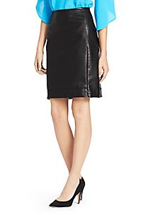 DVF - Rita Two Leather Pencil Skirt in Black ($498)