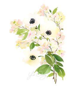 Anemone Splendor Watercolor Art Print by YaoChengDesign on Etsy