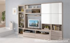 Soggiorno S 302 - Mondo Convenienza Media Storage, Decoration, Sweet Home, New Homes, House Design, Shelves, Living Room, Furniture, Open Space