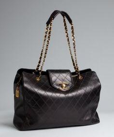 Chanel black quilted leather 'Super Jumbo' vintage bag | BLUEFLY up to 70% off designer brands at bluefly.com
