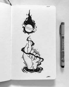 Hipster Drawings, Trippy Drawings, Space Drawings, Dark Art Drawings, Pencil Art Drawings, Art Drawings Sketches, Easy Drawings, Tattoo Drawings, Dibujos Tattoo
