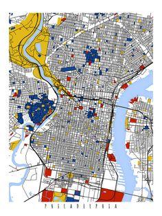 Philadelphia Map Art / Philadelphia, Wall decor / Print / Poster / Modern wall art home office Decor Philadelphia Map, Systems Art, Architecture Images, Piet Mondrian, City Illustration, City Maps, Print Poster, Modern Wall Art, Office Decor