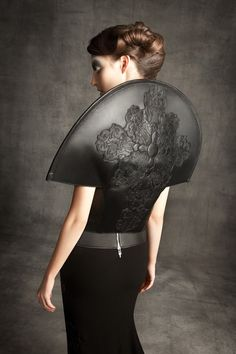 Sculptural Fashion with elegant circular silhouette; wearable art // Gareth Pugh x Chrome Hearts