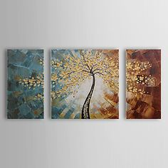 Hand Painted Oil Painting Botanical Tree with Stretched Frame Set of 3 1311-FL1081 – USD $ 99.99