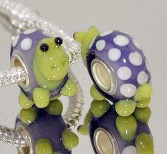 2pcs SILVER MURANO GLASS BEAD LAMPWORK Animal fit European Charm Bracelet Y84