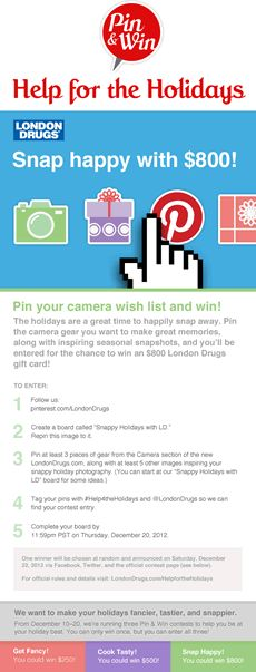 The new LondonDrugs.com is here to help for the holidays! Pin your camera wish list and you'll be entered for the chance to win a $800 London Drugs gift card to make your holidays snappier! #Help4theHolidays