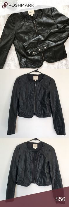 Urban Outfitters Cropped Vegan Leather Jacket Cropped black Moto Jacket by silence + noise from Urban Outfitters made from faux leather. Size Small, would also be suitable for XS. EUC. Please feel free to ask any questions before purchasing. I am happy to provide measurements/photos upon request 😊  ❣️Smoke-Free Environment ❣️Open to Offers ❣️No trades ❣️Bundle Discounts! 15% off 2+ items Urban Outfitters Jackets & Coats