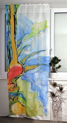 Blue in Roots Hand painted silk Curtain by dagamara on Etsy, $800.00
