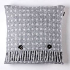 Bronte & Moon Grey Spot Luxury Lambswool Cushion at Black by Design