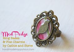 Tweet Tweet! Easy to make bird ring with Mod Podge Ring Blanks and Flat Charms.  The clear coat is Dimensional Magic.