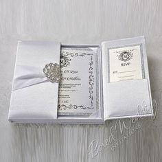 White Silk Invitation Box / Gatefold Invitation / Boxed Wedding Invitation / Invitation Box / Elegant, Couture Gatefold #weddinginvitation