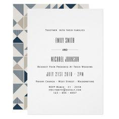 Blue Geometric Modern  Wedding Invitation Elegant - wedding invitations diy cyo special idea personalize card
