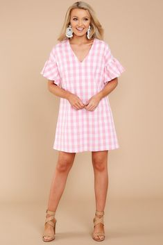 Dresses - Women's Outfits for Sale - Shop Red Dress Boutique – Page 20 Pink Dress Casual, Casual Summer Dresses, Casual Outfits, Fashion Outfits, Unique Dresses, Stylish Dresses, Short Dresses, Beautiful Dresses, Gingham Dress