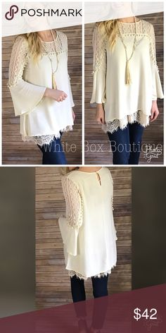 Cream Lace Tunic Absolutely gorgeous cream color with lace and pom pom detailing. Tunic length, stunning on! Pair with cream lace extender as shown also available in my closet. Tops Tunics