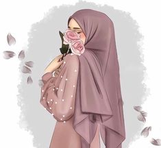 Beautiful Girl Drawing, Cute Girl Drawing, Hijabi Girl, Girl Hijab, Hijab Drawing, Hijab Stile, Anime Muslim, Hijab Cartoon, Muslim Women Fashion