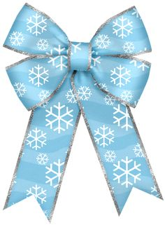 Christmas Blue Bow with Snowflakes PNG Clipart