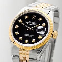 Rolex Men's 1995 Datejust Diamond Watch In Black - Beyond the Rack