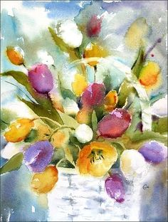 """Tulips Watercolor, Original Watercolor Painting """"Bucket of Tulips"""" 16x12 inches"""