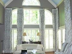 custom window treatments for two story windows Find more purchasing options at w… – Hazir Site Diy Window Blinds, Blinds For Windows, Curtains With Blinds, Windows And Doors, Tall Curtains, Ceiling Curtains, Curtains Living, Shop Windows, Window Curtains