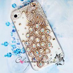 Swarovski Crystal Rhinetone with Crystalized Peacock, iPhone case ~ via Etsy.