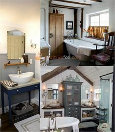 Bathroom Ideas - Best Bathroom Interior Design Ideas with Photos Wooden Bathroom, Small Bathroom, Bathroom Ideas, Country Interior Design, Bathroom Interior Design, Interior Ideas, Country Style Bathrooms, Rustic Bathrooms, Classic Bathroom