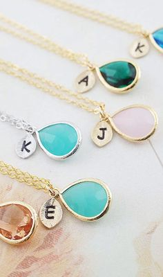 Initial Personalized Necklace from EarringsNation Mint Peach Pink Emerald Capri Blue Weddings Bridesmaid gifts Monogram Christams gifts