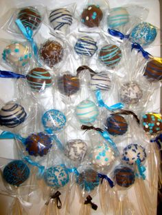 Cake Pops Baby shower cakepops white blue by ViktoriasSweetBoutiq, $24.00