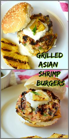 Shrimp burgers seasoned with garlic, ginger and chile are my favorite thing cooking on the grill right now. Filled with flavor and topped with a slice of grilled pineapple, these shrimp burgers are sensational! #burgers #shrimp #Grilling See more at This is How I Cook.com