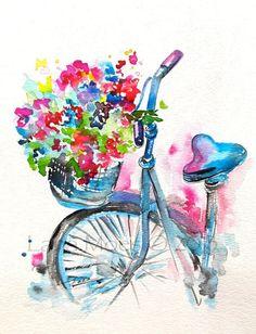 Original Watercolor Summer in Paris Illustration, Bicycle Art, Painting by Lana…