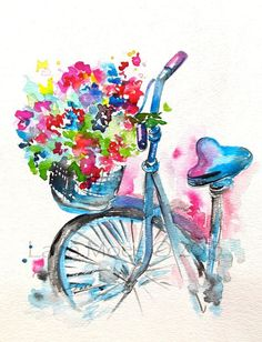 Original Watercolor Summer in Paris Illustration, Bicycle Art, Painting by Lana…