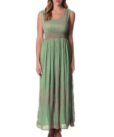 This Pastel Green Empire Waist Dress by Cotton Charm is perfect! #zulilyfinds