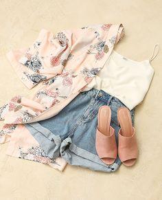 Sweet kimono ! #Pimkie Kimono fleuri + short mum + mules