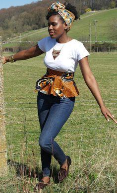 African Print Wrap Peplum Belt Orange by Sapelle ~African fashion, Ankara, kitenge African Inspired Fashion, African Print Fashion, Africa Fashion, Ethnic Fashion, Fashion Prints, Fashion Design, Men's Fashion, Fashion Decor, African Attire