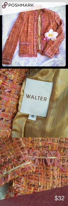 Walter Blazer This classy Walter blazer is perfect for all seasons! With white sequin trim and fringed edges, this blazer can be worn with dress slacks or jeans. Multi-colored with pink, fushia, orange, yellow, gold, and purple. Walter Jackets & Coats